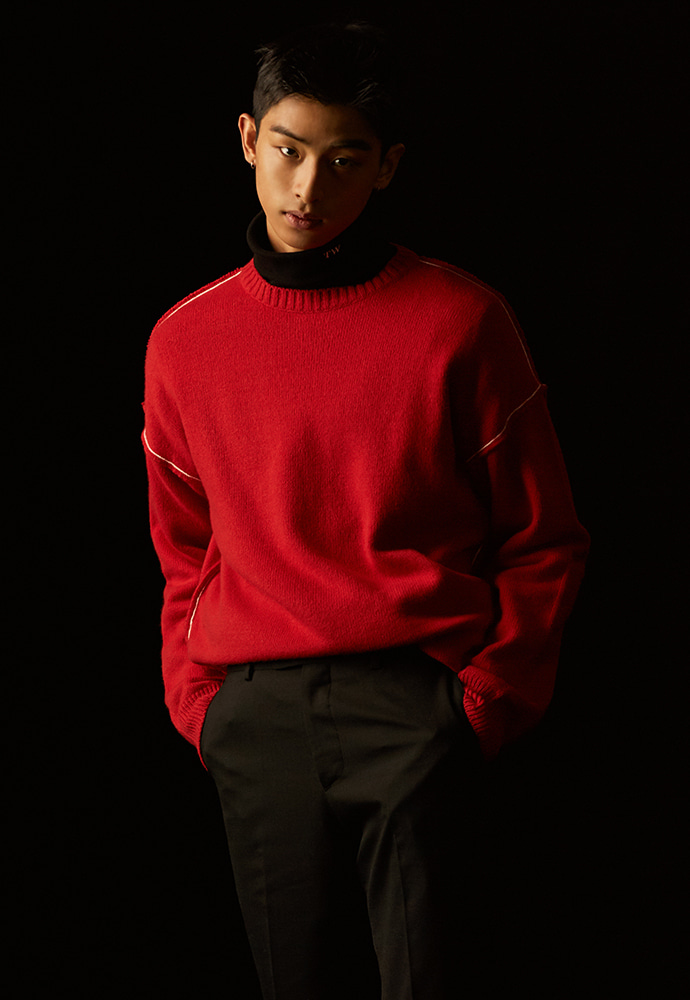 18fw / Contrasting Sweater_ Red
