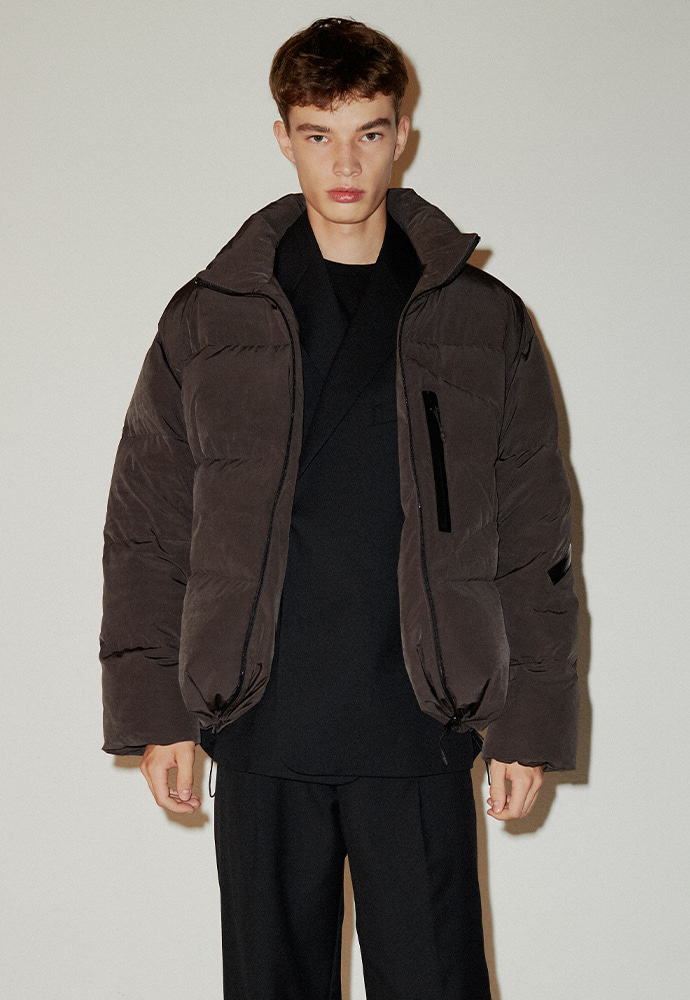 Signature Reversible Goose Down Jacket_ Charcoal