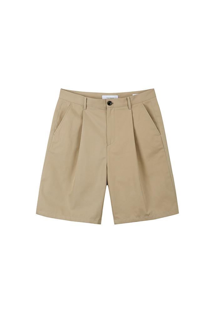Row Pleated Wide Shorts_ Beige