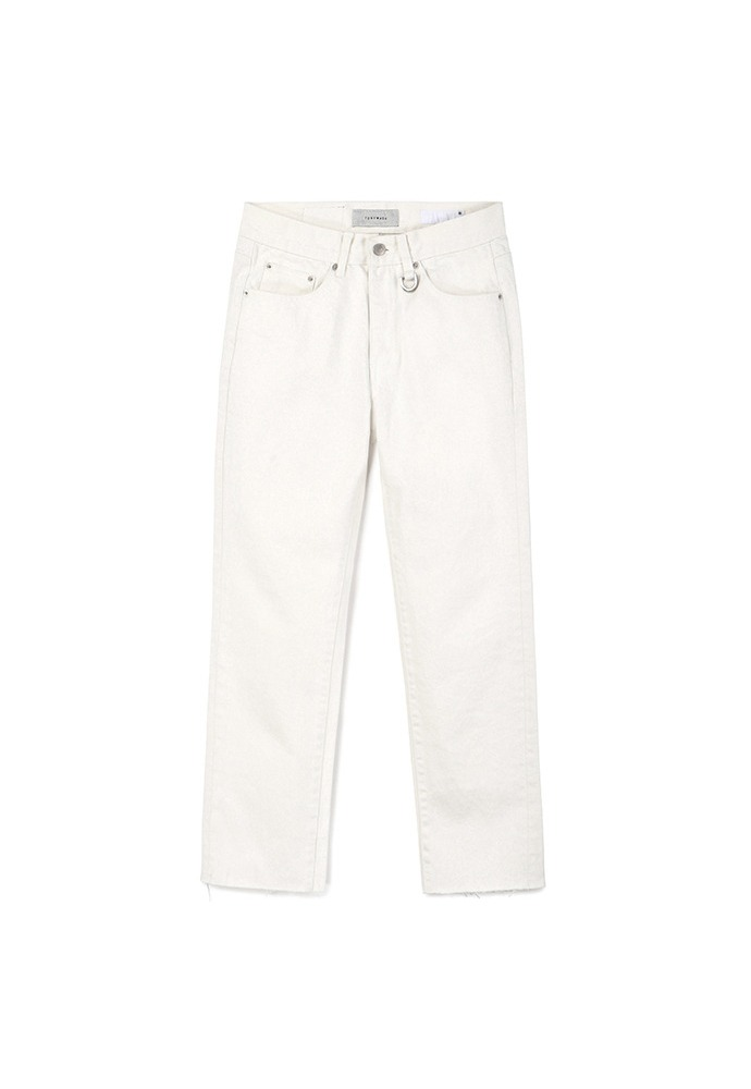 Musk Slim-Straight Jeans_ White
