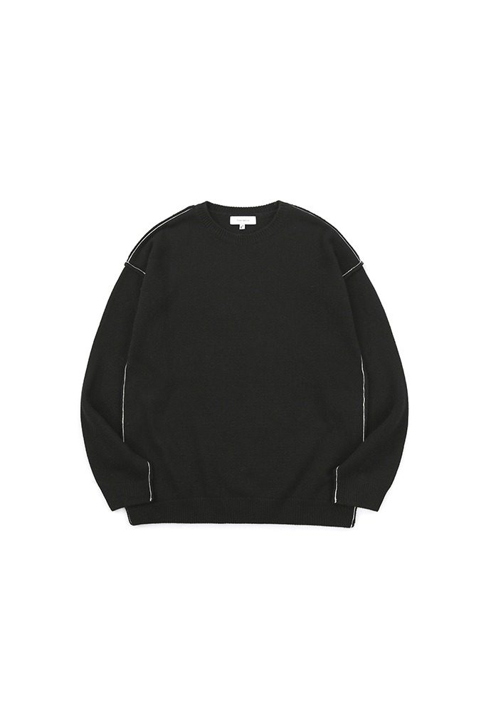 Contrasting Cashmere Sweater_ Black