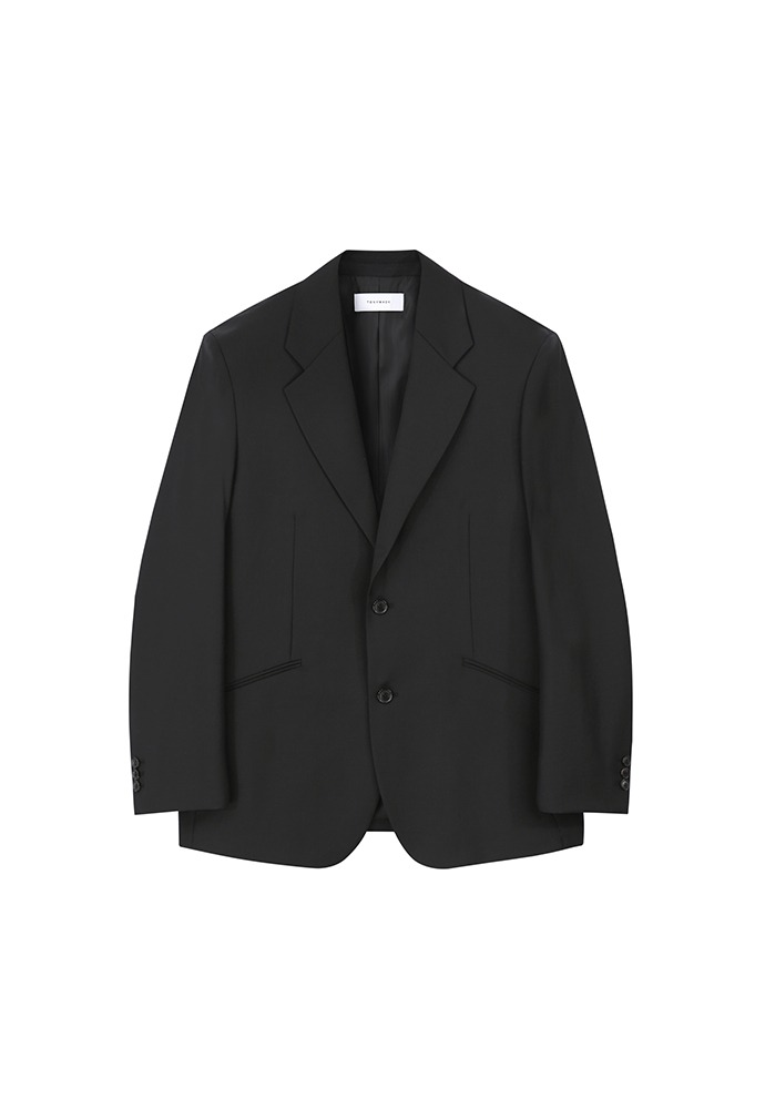 Relaxed-fit Tailored Blazer(high-twist wool 100%)_ Black